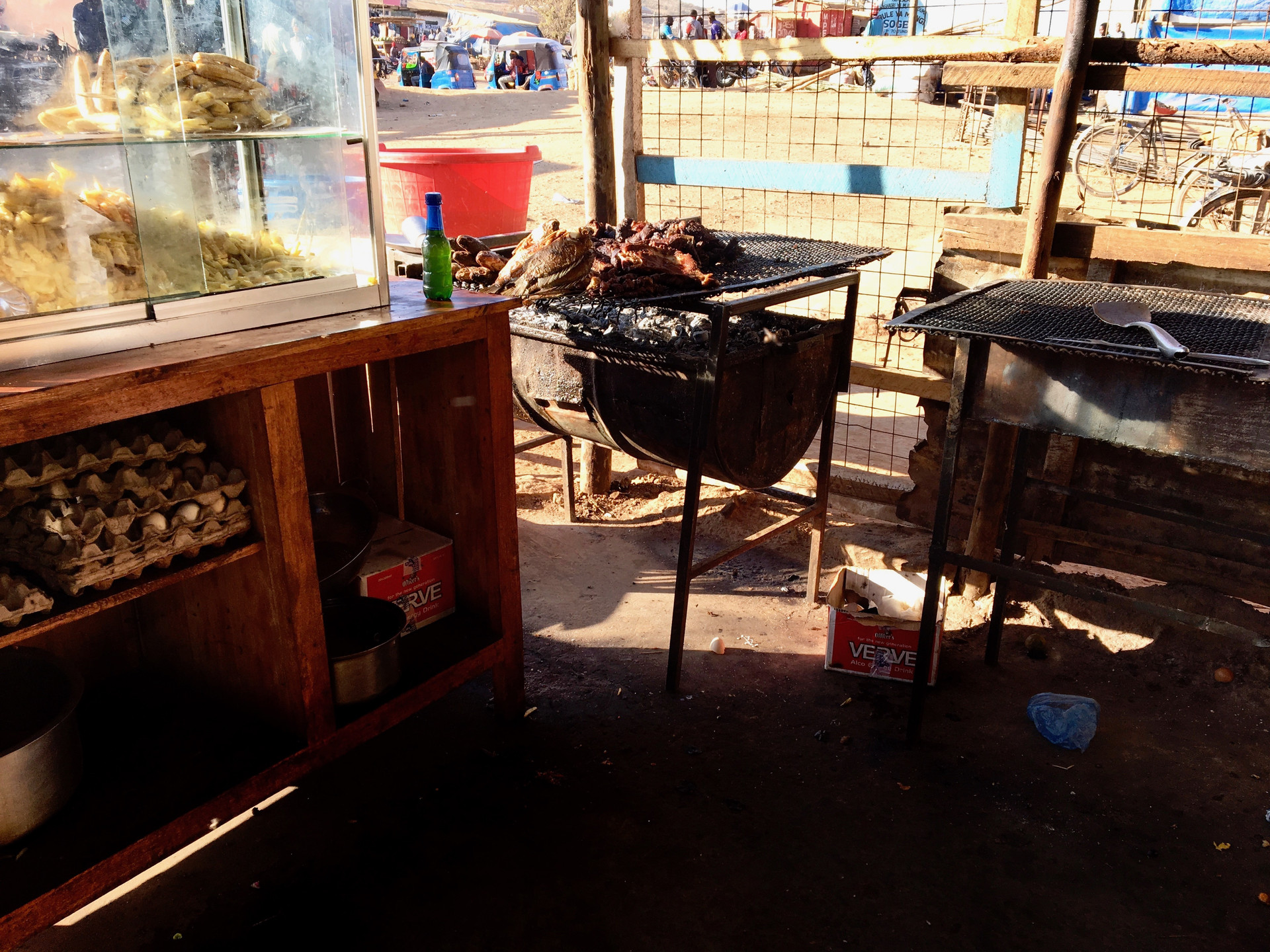 An open air restaurant's kitchen in our evangelism area
