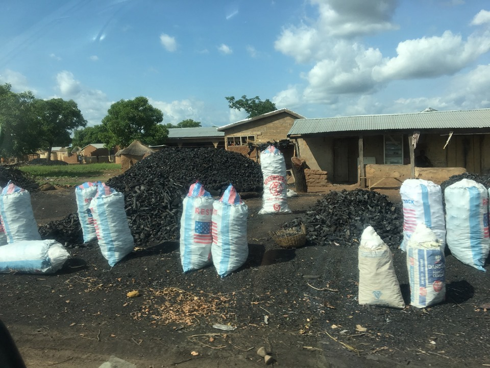 Charcoal for sale along the roadside. Not certain why the bags had the American flag on them. — in Walewale, Northern, Ghana.