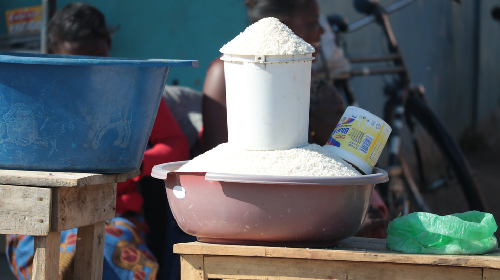 Rice for sale by the road