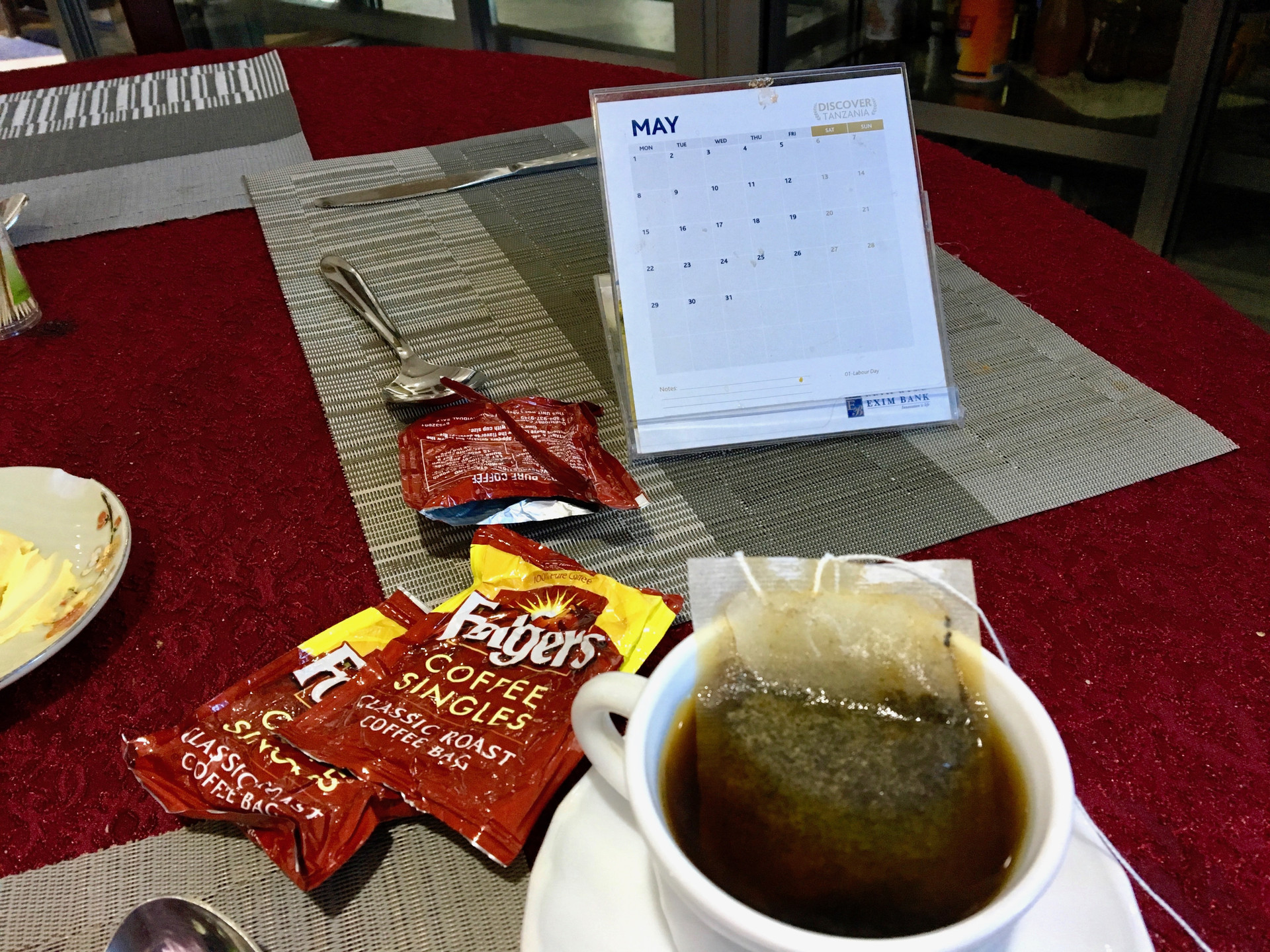A great way to start off the day is with a good cup of coffee... and if that is not available, you dig into your pack and pull out an adequate cup of coffee bag.  Note that it was still May in Tanzania... when it was actually July.