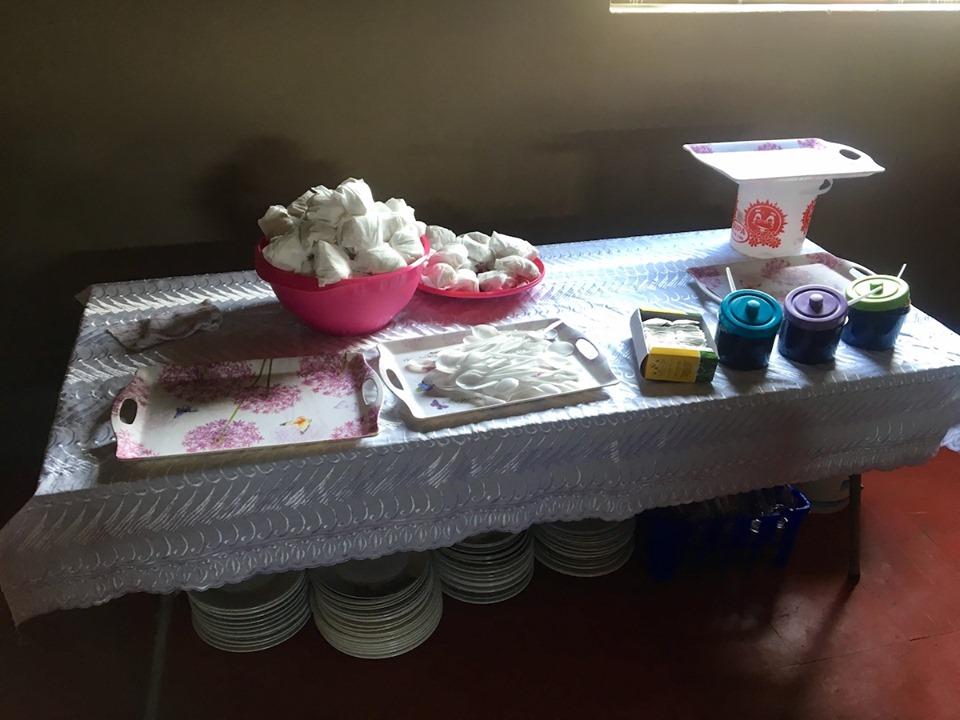 The setup for tea. — in Maseru, Lesotho.