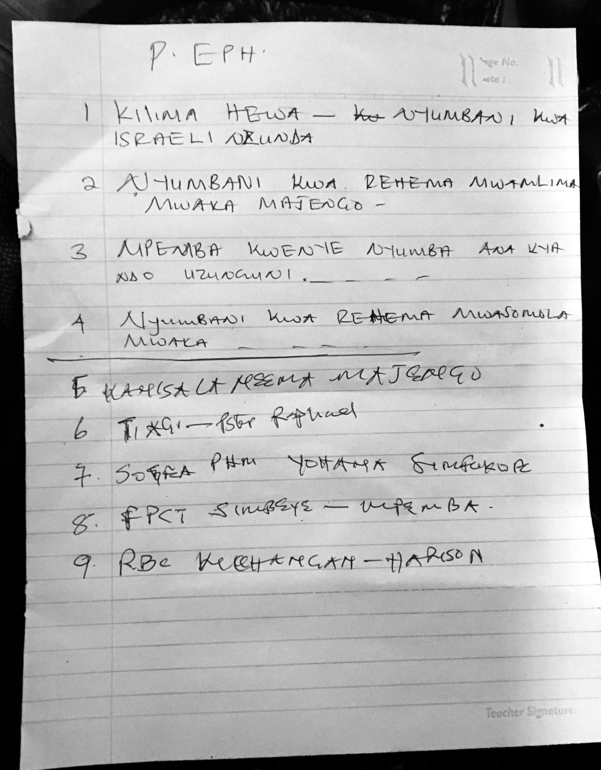 Azikiwe's list of the evangelism teams going out, where they will focus their efforts, and who the leaders will be in the new Cell Churches planted