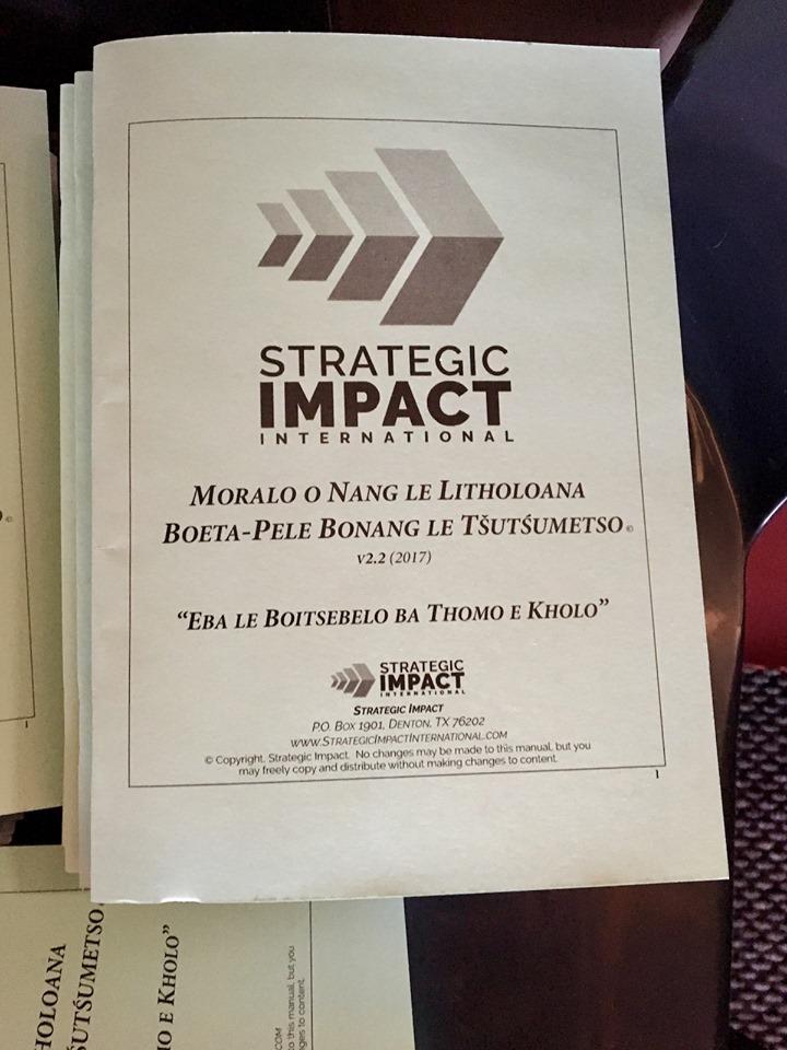 SI Leadership Thrust manual in Sesotho (language) — in Maseru, Lesotho.