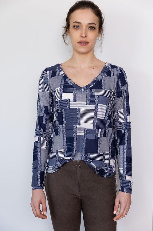 חולצת וי - הדפס כחול