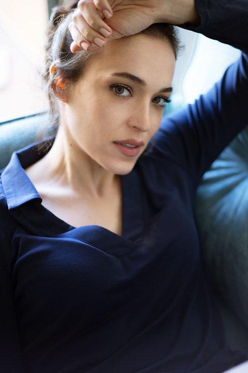 חולצת צווארון -כחול