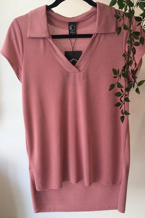 חולצת צווארון - ורוד עתיק