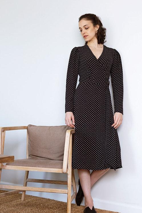 שמלת רומא -הדפס שחור