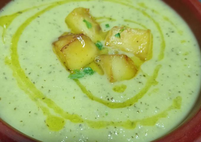crema de calabacin y manzana verde