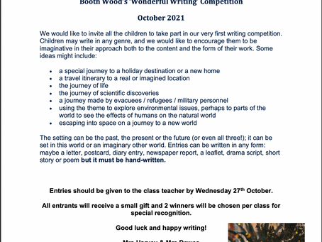 Wonderful Writing Competition - Thursday 14th October