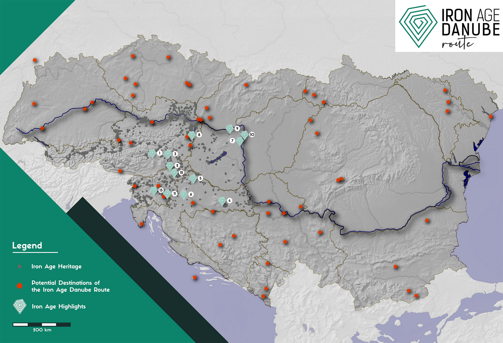 TOURIST MAP OF THE IRON AGE DANUBE ROUTE