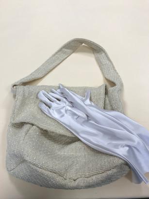 Wool Woven Bag & Satin Gloves