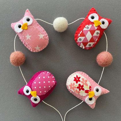 Pink Owl Garland