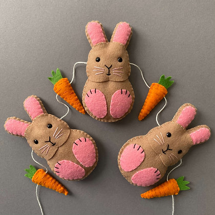 Pink and Brown Bunny Garland