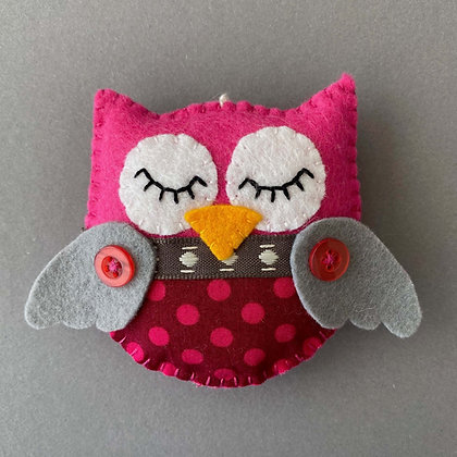 Pink and Grey Owl Decoration