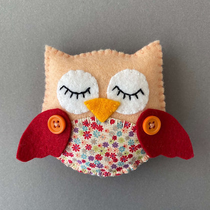 Peach and Red Owl Decoration