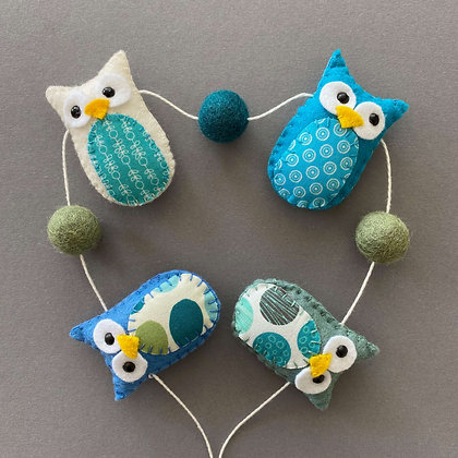 Green and Blue Owl Garland
