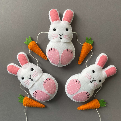 Pink and White Bunny Garland