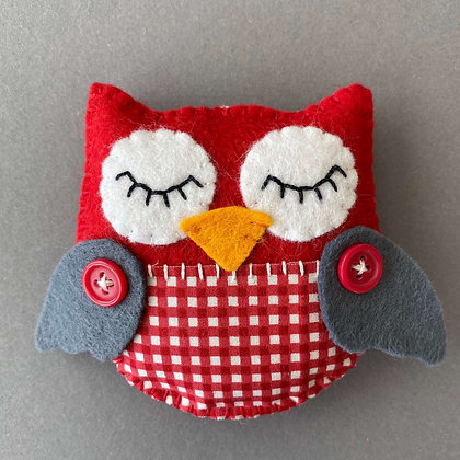 Red and Grey Owl Decoration