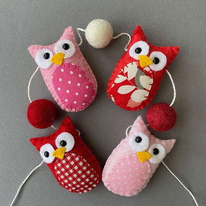 Pink and Red Owl Garland