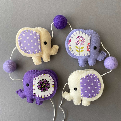 Purple and Cream Elephant Garland