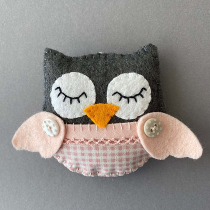 Grey and Pink Owl Decoration