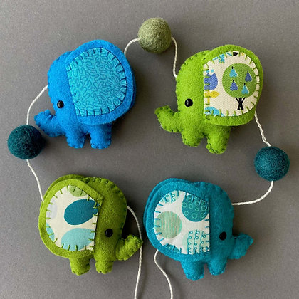 Green and Blue Elephant Garland