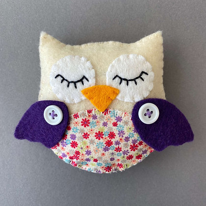 Cream and Purple Owl Decoration
