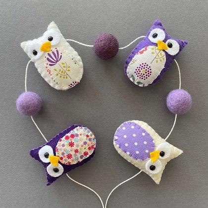 Purple and Cream Owl Garland