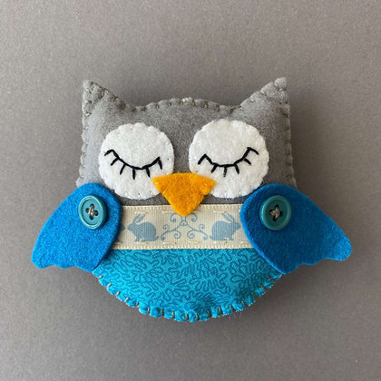 Grey and Blue Owl Decoration