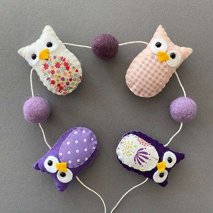 Purple and Pink Owl Garland