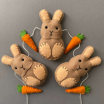 Peach and Brown Bunny Garland