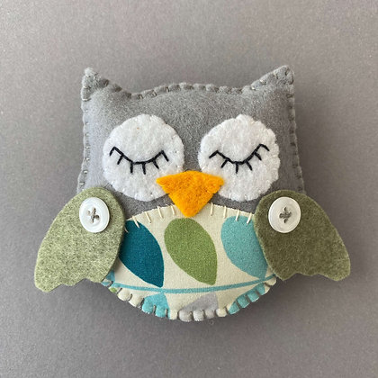 Grey and Green Owl Decoration