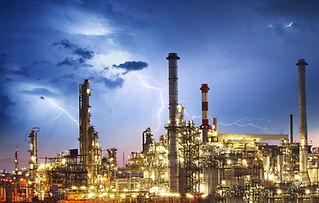 lightning over refinery