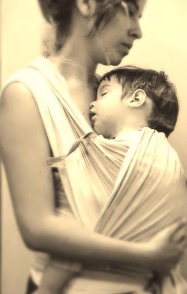 holding my sleeping son, Tomás