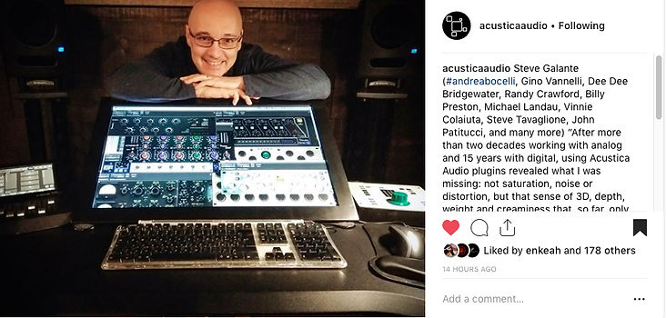 Acustia Audio endorsement by Stfano Galante
