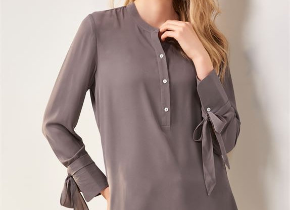 Tie Sleeve Long Blouse in 2 Assorted Colors