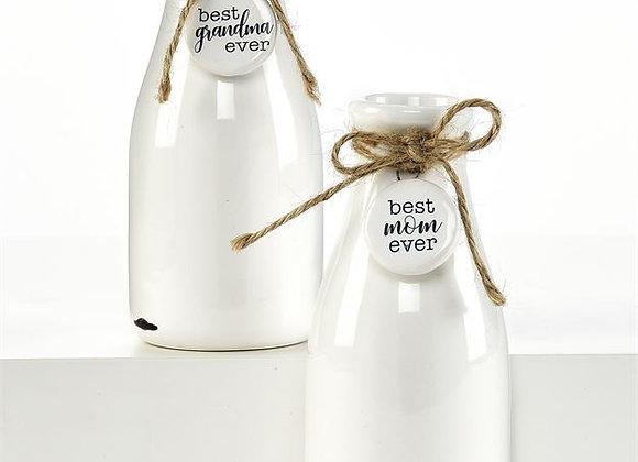 Milk Bottles Design Vase w/ Sentiment