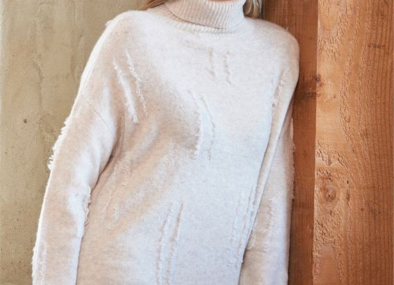 Front Knit Detail Turtleneck in 2 Assorted Colors