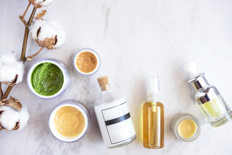 Natural skincare cosmetic products on wh
