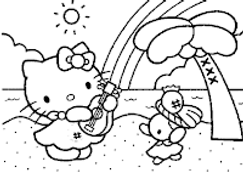Coloring-Pages-of-Hello-Kitty-Playing-Mu