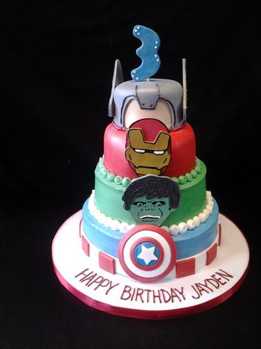 Avengers Comic Birthday Cake