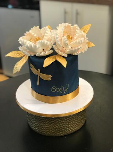 Gold Dragonfly Birthday Cake
