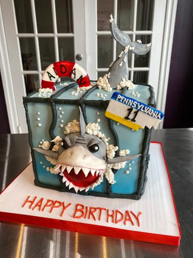 Escaped Shark Birthday Cake