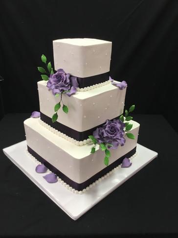 Purple Square Buttercream Traditional Wedding