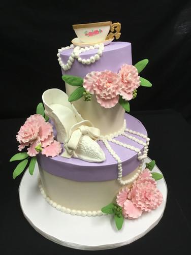 Elegant Tea Party Birthday Cake