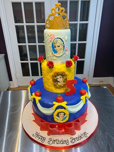 Tiered Disney Princess Birthday Cake