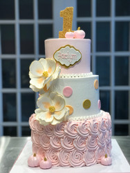 Pink and White Rosette Tiered Birthday Cake