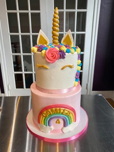 Rainbow and Unicorn Birthday Cake