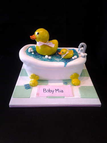 Rub A-Dub Dub Bathtub Baby Shower Cake