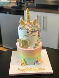 Rainbow Ombré Unicorn Birthday Cake